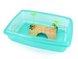Schildkröten Terrarium + Insel Aquarium Becken Heim Wasserschildkröten (grün) -