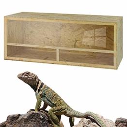 DeTec Holz Terrarium | 150 x 60 x 60 cm | aus Holz OSB | Holzkäfig | Holzterrarium für Reptilien Schlangen Schildkröten | Belüftung | Schiebetüren aus Plexiglas - 1