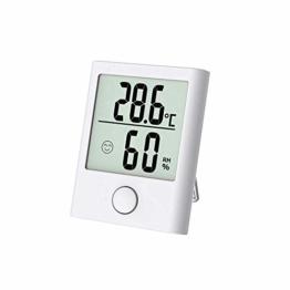 Digitales Mini Thermo Hygrometer Innen Thermometer Hygrometer Digital Temperatur und Feuchtigkeitsmesser Luftfeuchtigkeitsmessgerät mit Klima Monitor für Raumklimakontrolle Raum Zimmer Büro weiß - 1